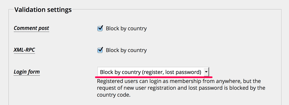 Block by country (register, lost password)