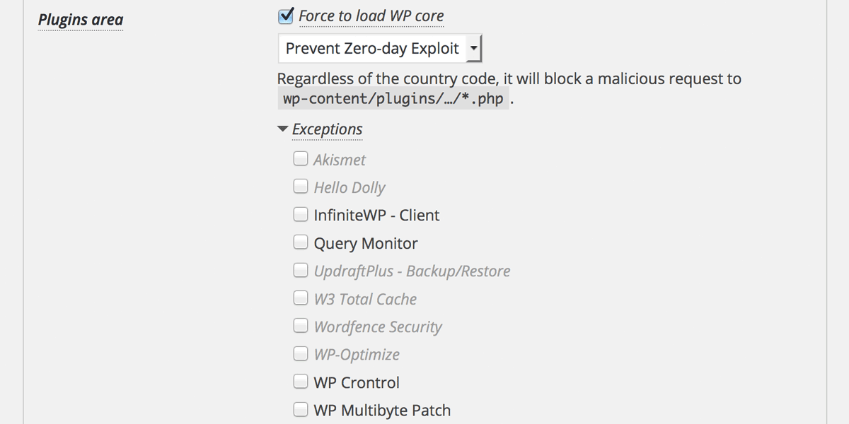 Exceptions for Plugins/Themes area