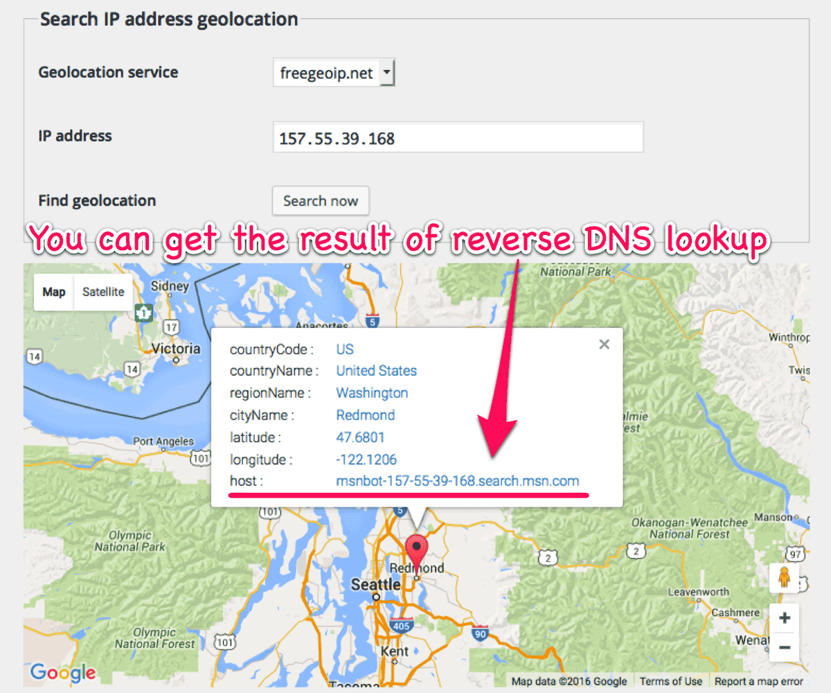 Reverse DNS lookup