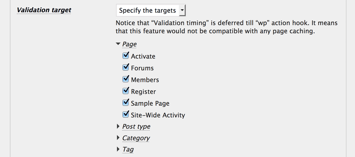 Front-end validation target settings