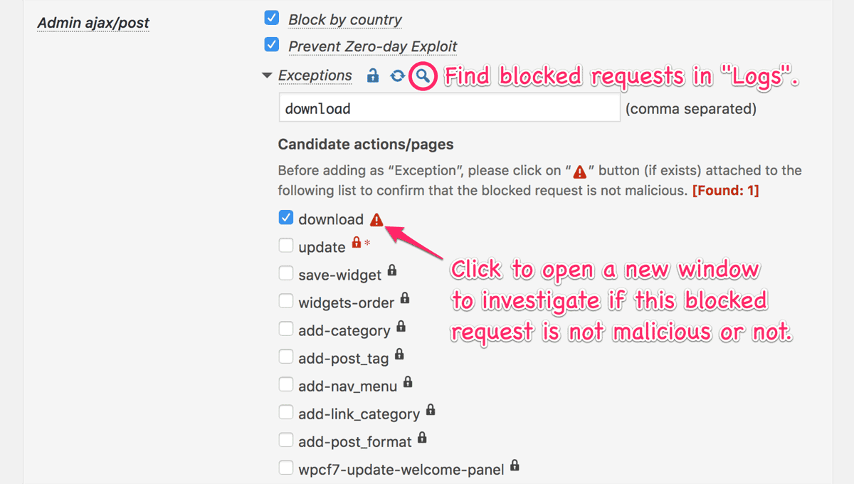 Find blocked request button